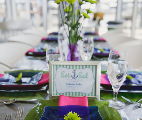 Wedding catering place settings and table design.