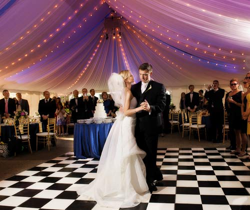 First dance at a wedding, bride and groom.