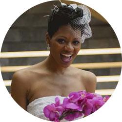 A happy bride on her wedding day in Western VA.