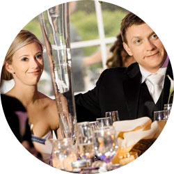 A happy couple enjoying wedding catering in Roanoke, VA by Blue Ridge Catering.