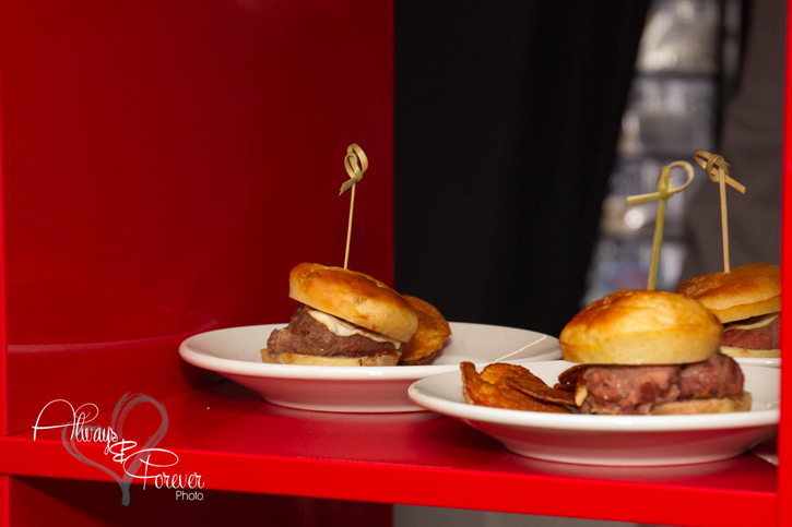 NY strip sliders w/tomato jam & smoked mozzarella shallot red pepper tarte tatin